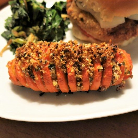 Hasselback Carrots with Crispy Crumb Topping