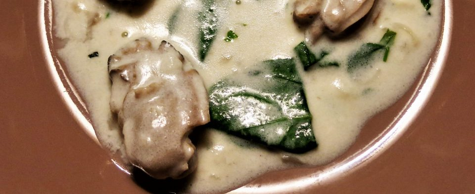 Oyster Stew with Spinach and Tarragon