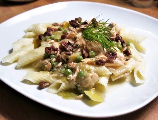 Salmon-Leek-Meyer Lemon Sauce