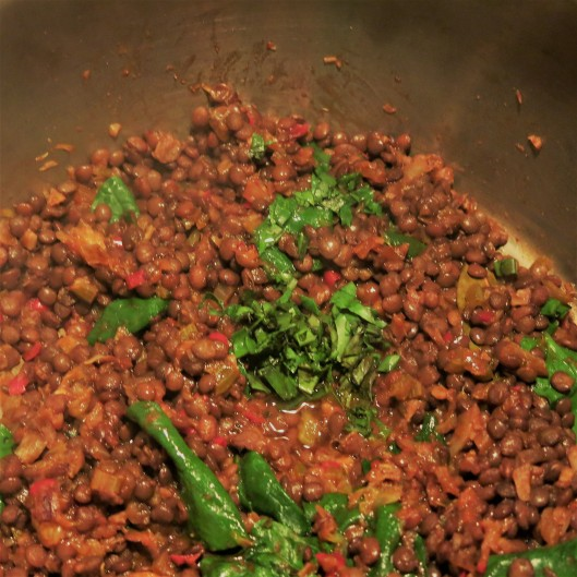 Lentils with Onion, Bell Peppers, Garlic and Herbs