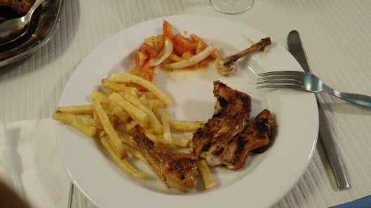 Chicken Piri-Piri, Fries and Tomato & Onion Salad - Restaurante Ramires - Guia - Albufeira - Algarve