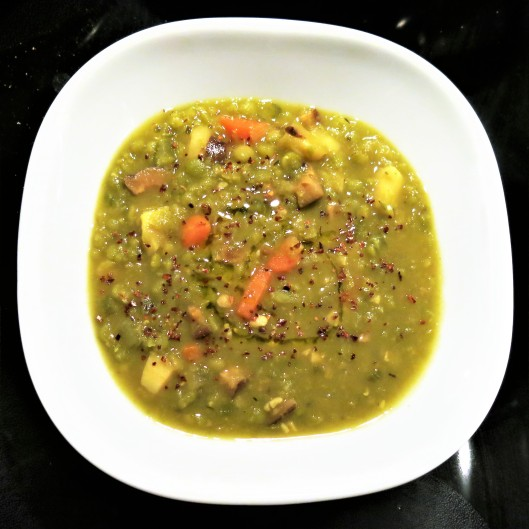 Split Pea Soup with Carrots, Mushrooms and Parsnips
