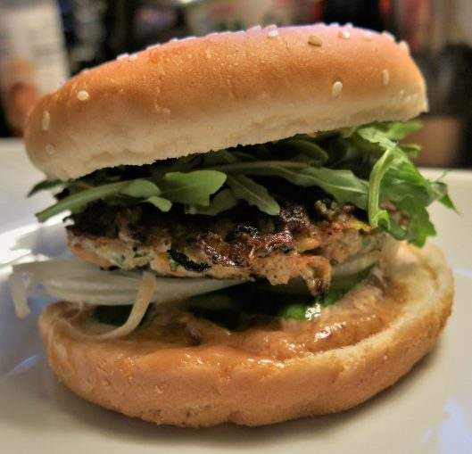 Chicken Burgers with Scallions, Ginger and Thai Flavors with Peanut-Hoisin Aïoli