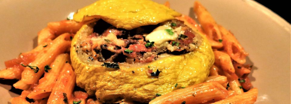 Pizza-Flavored Stuffed Patty Pan Squash