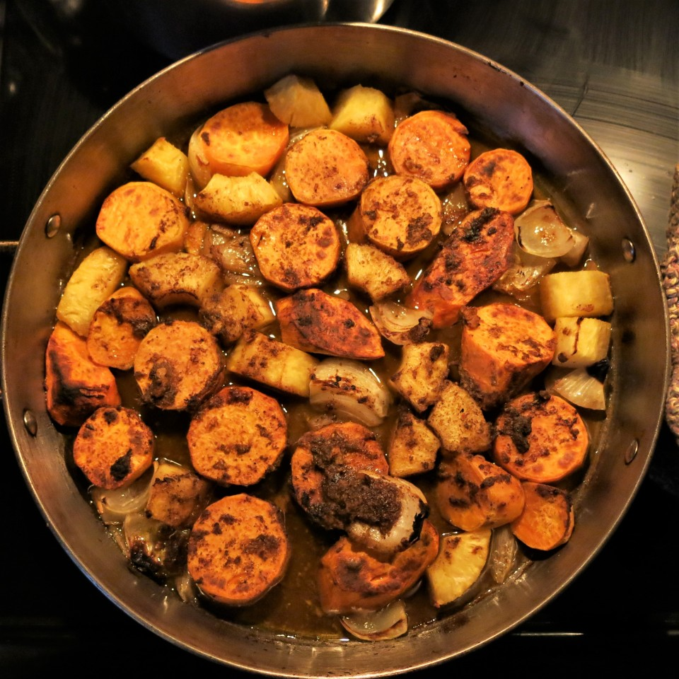Roasted Sweet Potatoes, Onions and Pineapple with Rum
