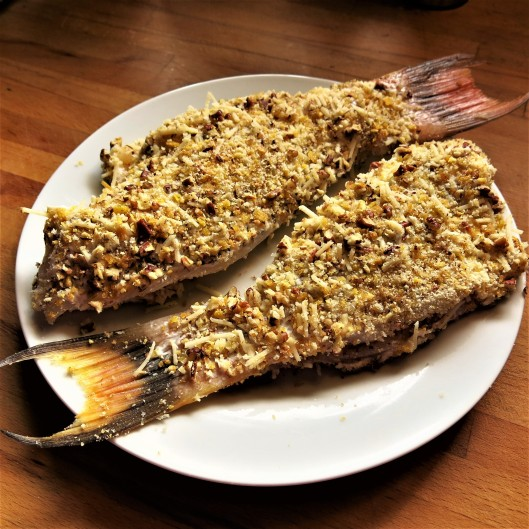 Fish Fillets with a Plantain Chip, Pecan, Panko and Parmesan Crust