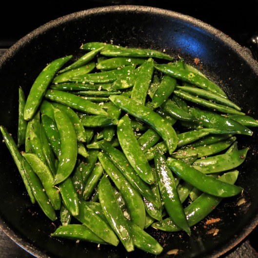Quick Roasted Sugar Snap Peas with Garlic and Ginger