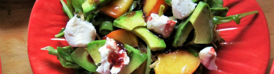 Arugula with Avocado, Nectarines and Goat Cheese with Blackberry Vinaigrette with Orange and Mint
