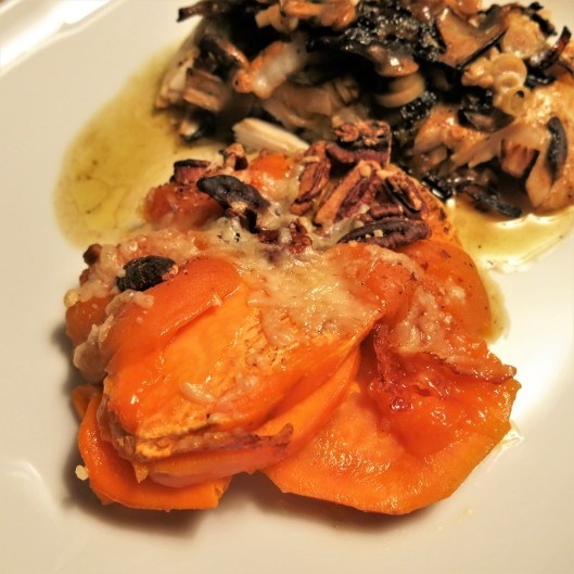 Roasted Sweet Potatoes with Pecans, Apricots and Parmesan