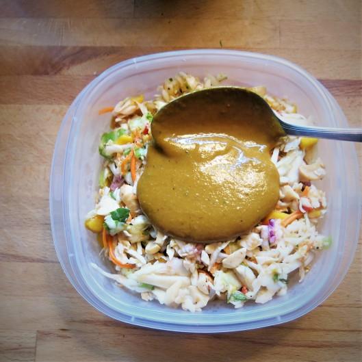 Mango-Cabbage Slaw with Sweet Chile Vinaigrette North Carolina-Style Smoky, Mustard BBQ Sauc