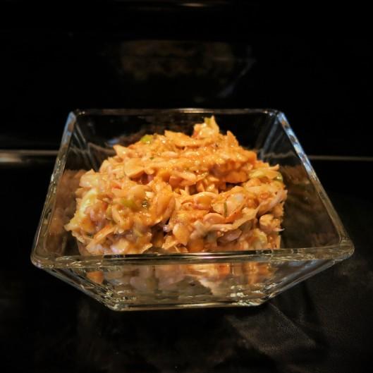 Mango-Cabbage Slaw with Sweet Chile Vinaigrette and North Carolina-Style Smoky, Mustard BBQ Sauc
