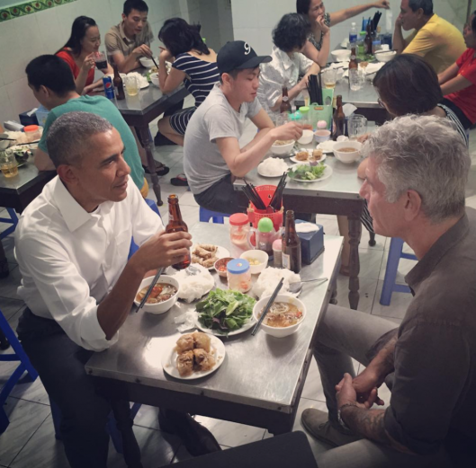 President Obama and Anthony Bourdain Sharing a Meal in a Vietnamese Noodle House