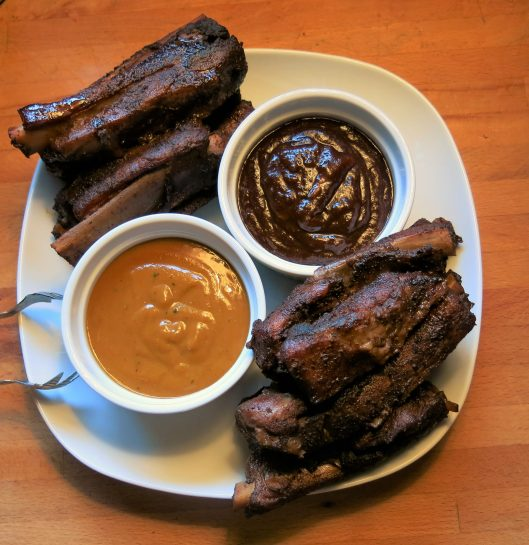 Dry Rubbed, Slow-Roasted Not-Adam's-Ribs with BBQ Sauces