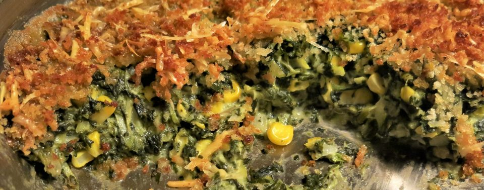 Creamed Spinach with Summer Squash and Corn Casserole