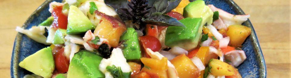 Seafood Salad with Peaches, Tomatoes and Fresh Herbs