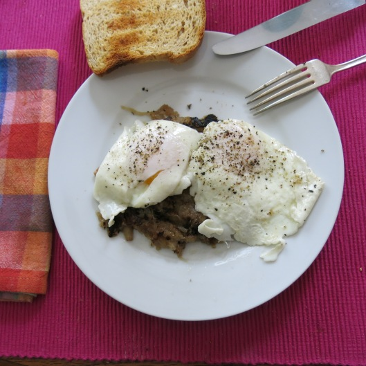 Oma's Sauerkraut with Apple, Onion and Bacon with Fried Eggs