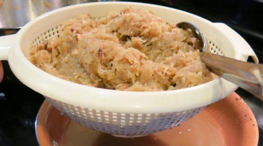 Draining Sauerkraut for Reuben Sandwiches