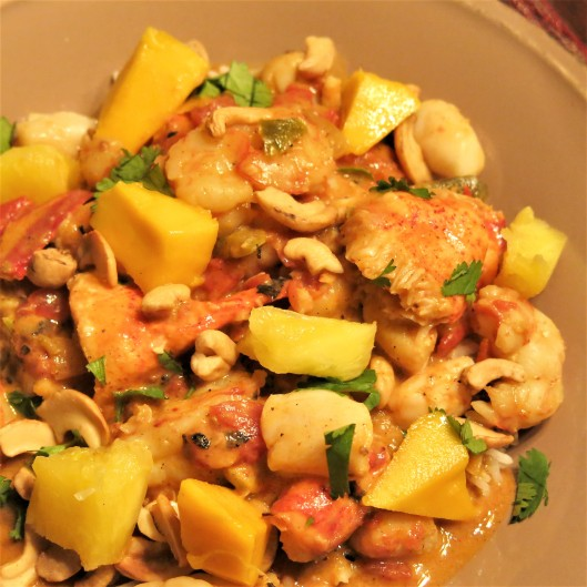 Seafood Coconut Curry with Mango