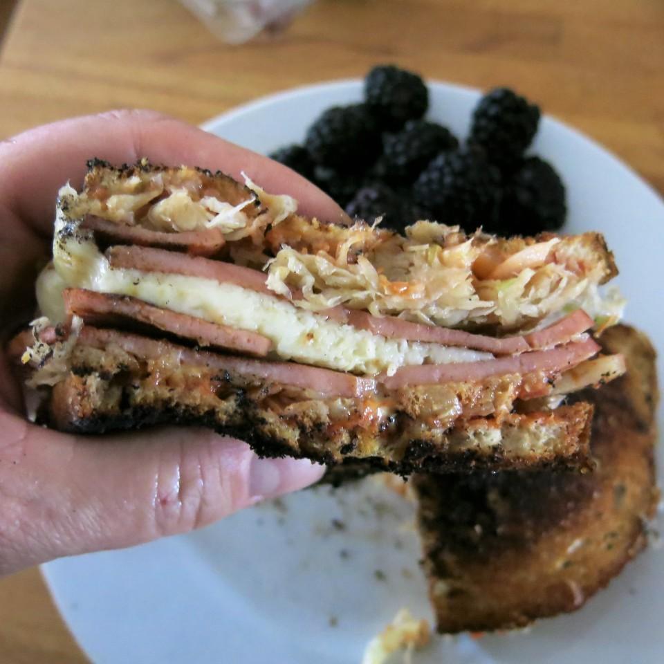 """Fried Bologna """"Reuben"""" Sandwich"""